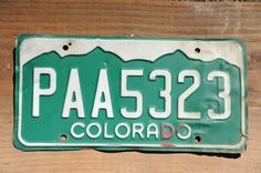 Colorado License Plate Number PAA5323    #ColoLicensePlate #VintageCoPlate #ColoradoPaa5323 #GreenAndWhite #RockyMountains #PAA5323 #LicensePlate #VintageColorado #CoPlatePaa5323 #CoLicensePlate