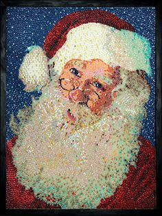 Santa Claus  by Artist: Kristen Cumings -- This sweet Santa Claus portrait is made with more than 10,000 Jelly Belly® jelly beans each lovingly placed by hand.  The big man joins the private collection of Jelly Belly Art, a colorful and larger-than life collection of art pieces made completely out of Jelly Belly jelly beans.