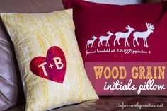 DIY Home Decor | This wood grain initial pillow has just the right amount of sparkle and makes a great gift for a sweet couple!