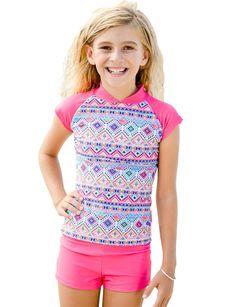 0e8477fa Boyleg Shorts and Swim Shirt Set for Girls- Sizes 4 - 12 - Sun Emporium
