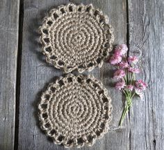 Coasters kitchen Cup holders Organic Crochet coasters Rustic
