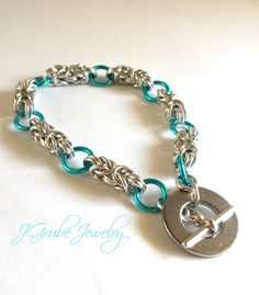 Byzantine Chainmaille Bracelet in Silver and Blue with a Unique Toggle Clasp by JGrubeJewelry, $14.00