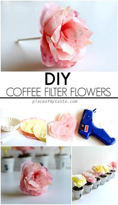 Paper flowers using coffee filters Coffee Filter Flowers, Coffee Filter Crafts, Coffee Filters, Coffee Filter Wreath, Handmade Flowers, Diy Flowers, Fabric Flowers, Flower Pots, Potted Flowers