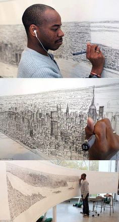 After a 20 mins flight on New York, Stephen Wiltshire, diagnosed as autistic, draws the whole city using his memory.