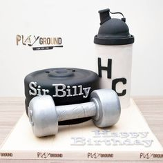 Muscle Mania Gym Themed Birthday Celebration Cake with Dumbbell, Weight Plates & Protein Shake