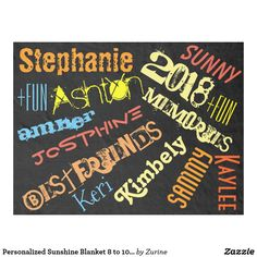 Personalized Sunshine Blanket 8 to 10 Names - kids birthday gift idea anniversary jubilee presents Kids Birthday Gifts, Home Gifts, Gifts For Kids, Birthday Diy, Customized Gifts, Personalized Gifts, Great Gifts For Guys, Edge Stitch, Family Memories