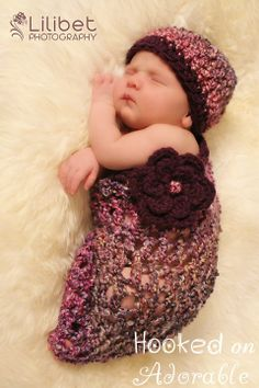 Ughhh soooo cute! Who wants to knit this for me?! Lol Crocheted Baby Girl Cocoon & Hat.