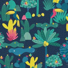 Jungle Paradise Pattern illustration  https://www.behance.net/gallery/61950747/Jungle-Paradise-Pattern-illustration