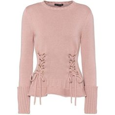 Alexander McQueen Lace-Up Wool Sweater (2,440 PEN) ❤ liked on Polyvore featuring tops, sweaters, shirts, pink, lace-up tops, lace front sweater, lace up front shirt, woolen sweater and laced up top