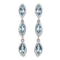 $119...Fancy 1.92ct Aquamarine .925 Sterling Silver Earrings