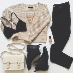 Creme tan sweater cream black bralette pants jeans booties boots fall casual comfy purse satchel cross body