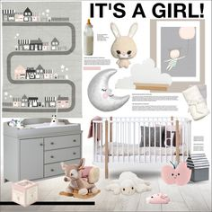 It's a Girl! by szaboesz on Polyvore featuring interior, interiors, interior design, home, home decor, interior decorating, South Shore, WALL and H&M