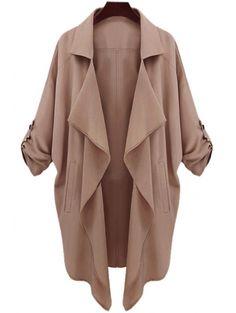 Lapel Neck Long Sleeve Solid Color Trench Coat #womensfashion #pinterestfashion #buy #fun#fashion