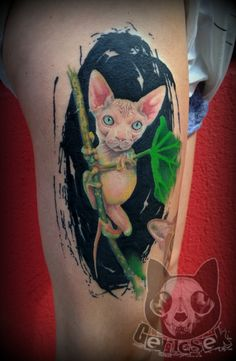 Cat - frog tattoo, realistic portrait from a non existing animal =(