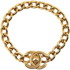 Chanel Vintage logo chain bracelet ($2,185) ❤ liked on Polyvore featuring jewelry, bracelets, chanel jewelry, vintage bangle, chanel jewellery, chanel and chanel bangles