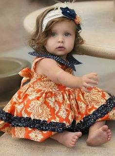 Persnickety Baby Doll Darcie Dress orange and navy color with Mary Jane Collar.This ruffle dress looks so beautiful on your stylish baby. Little Girl Outfits, Cute Little Girls, Toddler Outfits, Kids Outfits, Baby Girl Fashion, Kids Fashion, Kids Dress Shoes, Persnickety Clothing, Girls Designer Clothes