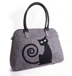 Borsa spalla borse donna gatto feltro borse borsa Colpire le strade in stile mediante la realizzazione di questa borsa di feltro di donne con il disegno