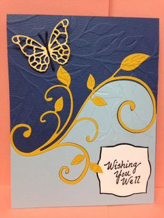 """Easy flourish die technique Easy flourish die technique STEP #1 Lay die across card with edges """"slightly off edges of paper. STEP #2-Cut STEP #3-- Choose 2 dif. colors of cards. Glue """"TOP"""" cut piece to one card front. Glue """"BOTTOM"""" piece to another card front. (Save flourish for another card) STEP # 4--do same thing on another color of paper (save that color flourish) STEP #5-- Glue that flourish in cut-out area of first card."""