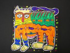 3rd Grade Laurel Burch Cats | Flickr - Photo Sharing!