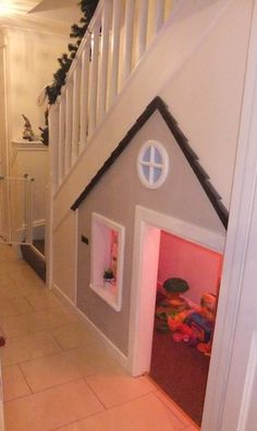 Storage heaven: make use of the space underneath the stairs. A kids play house. - Storage heaven: make use of the space underneath the stairs… A kids play house! Under Stairs Playhouse, Kid Playhouse, Closet Playhouse, Under Stairs Playroom, Under The Stairs, Playhouse Ideas, Basement Stairs, Princess Playhouse, Playhouse Decor