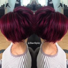 Image result for purple and red short hair