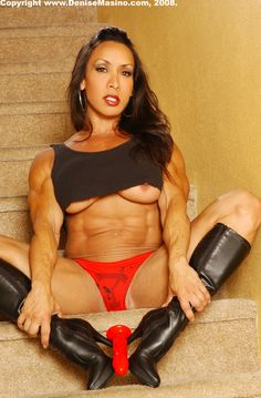 Fermale bodybuilder denise masino in red robe with toy