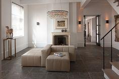 Belgian bluestone Grand antique de Bocq floor tiles in living room.