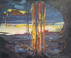 Cascada Catalana - Senyera. Pintura acrílica s/lienzo.Dimensión,46 X 55 cm.(Cascada en reflejos y colores de la Bandera Catalana,  anomenada popularment Senyera).