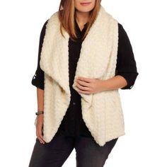 Maxwell Studio Women's Plus-Size Textured Chevron Faux Fur Vest, Size: 3XL, Beige