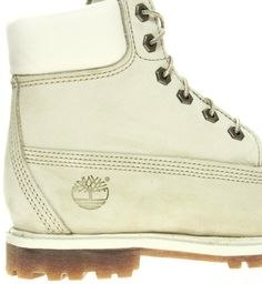 Timberland Women's Winter Boots | Timberland 6 Premium Winter White Lace Up Flat Boot in White