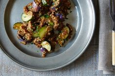 Miso Quinoa Pilaf with Grilled Cucumber, Eggplant, and Soy Dressing recipe on Food52