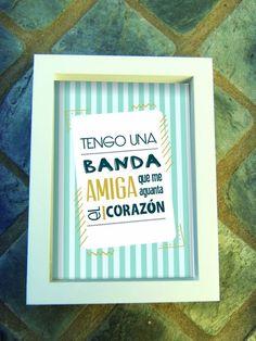 Cuadros Día del Amigo |  Medida 18x24cms | Marco en color blanco o madera natural | Besties, Friendship, Deco, Sentences, Collages, Frame, Quotes, Gifts, Vintage