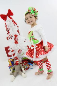 Boutique Pageant Christmas Elf applique top and pettiskirt by heavenlythingsforangels for $48.00