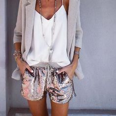 """AndAndrea.com (@andandreastyle) on Instagram: """"G O O D T O G O ✔️ Summer StreetStyle... Neutral Tones with a dash of Sparkle!! Sequin Shorts +…"""""""