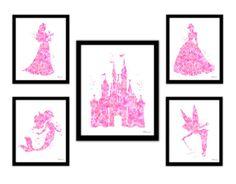Pink Princess print Disney princess princess by FluidDiamondArt