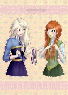 Not sure why but I find this really cute. Elsa giving Anna her hair ribbons to use <3
