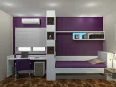 Projeto dormitório menina com nicho para TV