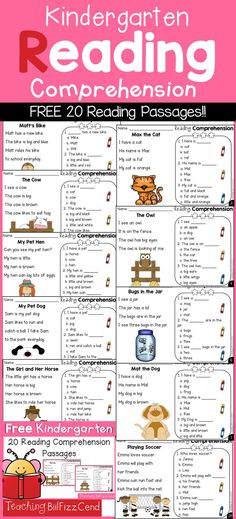 Free Kindergarten Reading Comprehension and Questions Kindergarten Reading Comprehension Passages Freebies! Free Kindergarten Reading Comprehension and Questions Kindergarten Reading Comprehension Passages Freebies! Reading Comprehension Passages, Reading Fluency, Reading Centers, Teaching Reading, Kindergarten Reading Comprehension, Reading Groups, Comprehension Questions, Reading Skills, Reading School