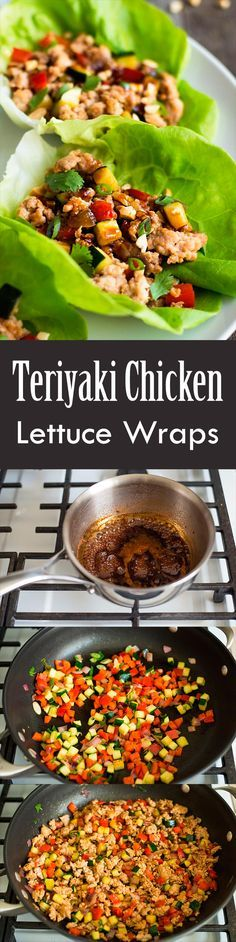 These Teriyaki Chicken Lettuce Wraps are an easy, light meal for any night of the week! A quick homemade teriyaki sauce makes them way better than take-out. On http://SimplyRecipes.com