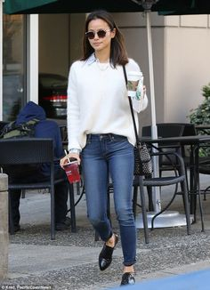 Good morning: Jamie Chung, 32, looked preppy and warm in a thick white sweater and fitted ...