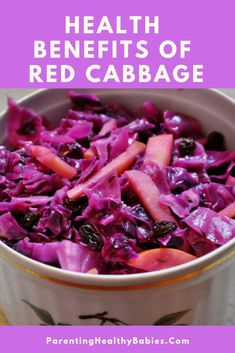Red cabbage offers a lot of health benefits to your child including the boosting of immunity and strengthening bones of your little one. Red Cabbage Benefits, Health Benefits, Healthy Eating, Healthy Recipes, Vegetables, Children, Food, Eating Healthy, Young Children