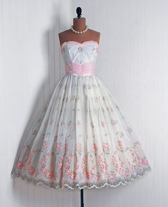 Sweet Vintage Chiffon Pink Roses Party Dress....If I ever had another prom, Id def want to wear this with my silver sequined Doc Martens : )