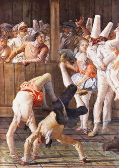 Giovanni Battista Tiepolo Pulcinella and the Tumblers, Wall painting, 1759-1797, , Villa Tiepolo, Ca´Rezzonico, Venezia. Villa Tiepolo a Zianigo di Mirano Ca' Rezzonico, Ven...