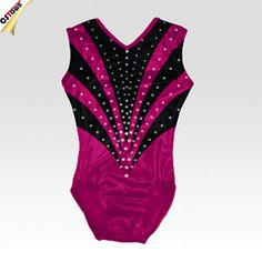 Rhinestone Iron ons Metallic Black and Pink Shining Girls Gymnastics Leotards #adult_gymnastics_leotards, #black
