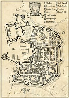 Seagard city map - A nice model for Consta, though a river runs through it. Fantasy Map Making, Fantasy City Map, Fantasy World Map, Fantasy Castle, Fantasy Rpg, Warhammer Fantasy, Rpg Horror, Rpg Dice, Plan Ville