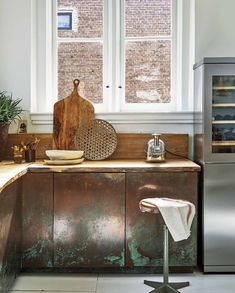 Copper kitchen with wooden counter top Decor, Copper Kitchen, Kitchen Design, Wooden Counter, Kitchen Interior, Countertops, Beautiful Kitchens, Home Decor, Kitchen Remodel Countertops