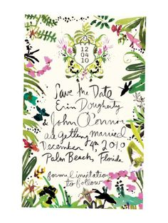 I love this save the date, with the crest, lots of greenery, and watercolor script (would want script to be a little less quirky). / Happy Menocal Save the Date Save The Date Wedding, Save The Date Cards, Plan Your Wedding, Wedding Planning, Mod Wedding, Wedding Paper, Trendy Wedding, Wedding Day, Perfect Wedding