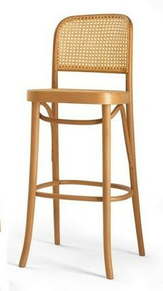 Michael Thonet Designed BST 811 Barstool with handwoven cane seat and back.
