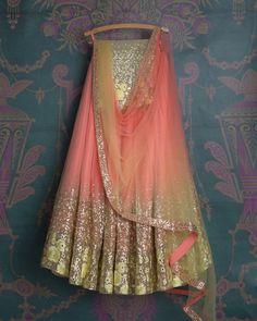 SMF LEH 299 17 I Flamingo with lime rose daman lehenga withmatching shaded dupatta and matching rose daman blouse (SOLD) Indian Bridesmaid Dresses, Desi Wedding Dresses, Pakistani Wedding Outfits, Indian Gowns Dresses, Pakistani Bridal Wear, Bridal Lehenga, Pakistani Dresses, Indian Attire, Indian Outfits