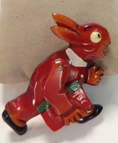 Ready For School Vintage Bakelite Articulated Rabbit Brooch